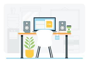 Vector Designer Work Station Illustration