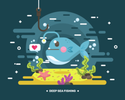 Djuphavsfiskevektor