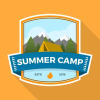 Flat Summer Camp Patch con la ilustración de Vector de paisaje