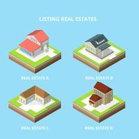 Immobilien-isometrischer Vektor auflisten