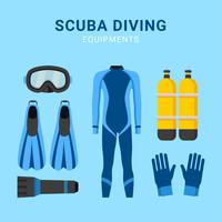 Scuba Diving Equipments Vector