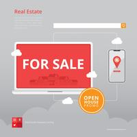 Real Estate Listing Illustration. Hemlista för e-handelsillustration.