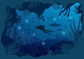 Silhouette de plongée sous-marine