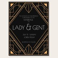 Classic Art Deco Wedding Invitation Vector