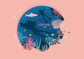 Scuba Diving Pink Color Vector