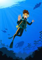 Scuba Diving At The Sea vector