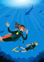 Female Scuba Diving vector