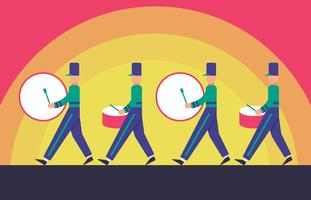 Marching Band Parade On Sunset Background Illustration