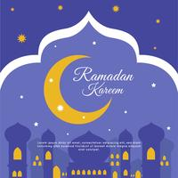 Night Ramadan Kareem Background Vector