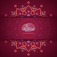 Ramadan Kareem Mandala Mönster Magenta Bakgrund Vector