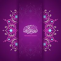 Ramadan Kareem Mandala Pattern Vector Fundo Roxo