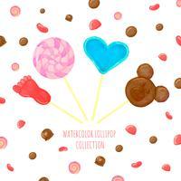 Coleção de pirulito com doces ao redor