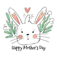 Cute Mom Bunny To Mother's Day vector