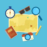 Road Map and Traveling Vector Illustration