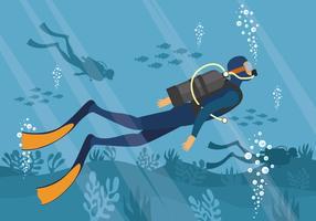 Illustrazione di vettore di immersione con bombole