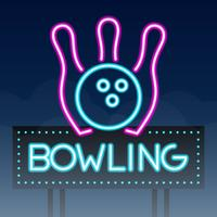 bowlingväg sjunga stadstecken neon