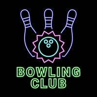 Bowling Club Neon Sign  vector