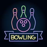Insegna al neon dell'emblema di logo del club di bowling