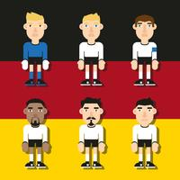 German Soccer Characters Flat Illustrations Vector