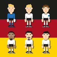 Personajes de fútbol alemán ilustraciones planas Vector