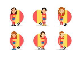 Paquete femenino de personajes de fútbol español
