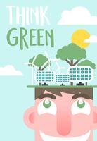 Denken Sie grünen Plakat-Illustrations-Vektor