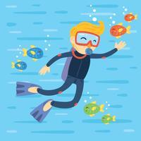Flat Scuba Diving Vector
