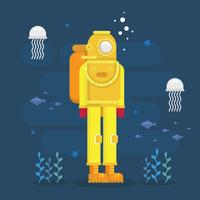 Illustrazione di immersioni subacquee. Scuba Diver Illustration.
