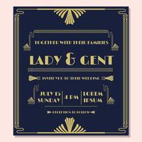 1920, invitación de la boda, vector