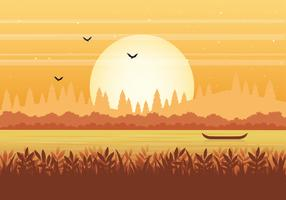 Vector natuur landschap illustratie
