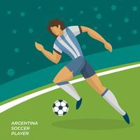 Abstract Flat Argentina Soccer Player with a ball in field Vector Illustration