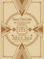 Art Deco Wedding Save The Date Card Vector Template