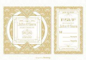 Vintage Art Deco Wedding Card Vector Templates