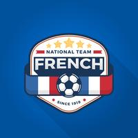 Coupe du monde de football moderne Français Badge plat avec fond bleu Vector Illustration