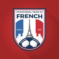 Coupe du monde de football Français moderne plat Badge avec Illustration vectorielle de fond rouge