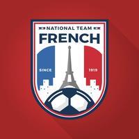 Coupe du monde de football Français moderne plat Badge avec Illustration vectorielle de fond rouge vecteur