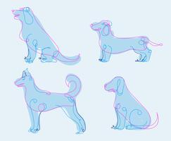 Hundfodrad Handdragen Sammanfattning Vektorillustration
