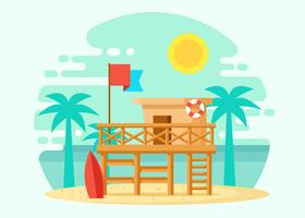 Wooden Lifeguard House Illustration