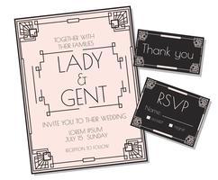Weicher rosa Art Deco-Hochzeits-Einladungs-Vektor