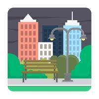 parque urbano plano vector