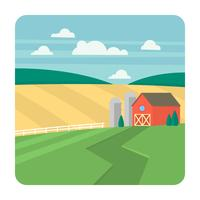 Paisaje de granja plana