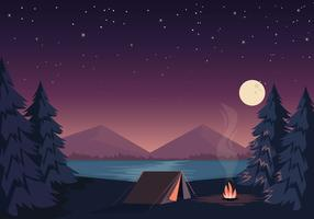 Vektor Vacker Camping Illustration