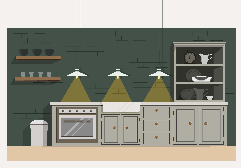 Vistoso Diseño Del Icono Del Baño Cocina Inc Bandera - Ideas de ...