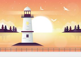 Vector Lighthouse Landscape Illustration