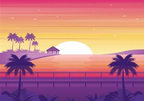 Ilustración de paisaje al atardecer de vector