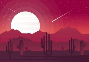 Vector Abstract Red Landscape Illustration