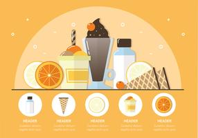 Vector Fruits and Ice Cream Illustration