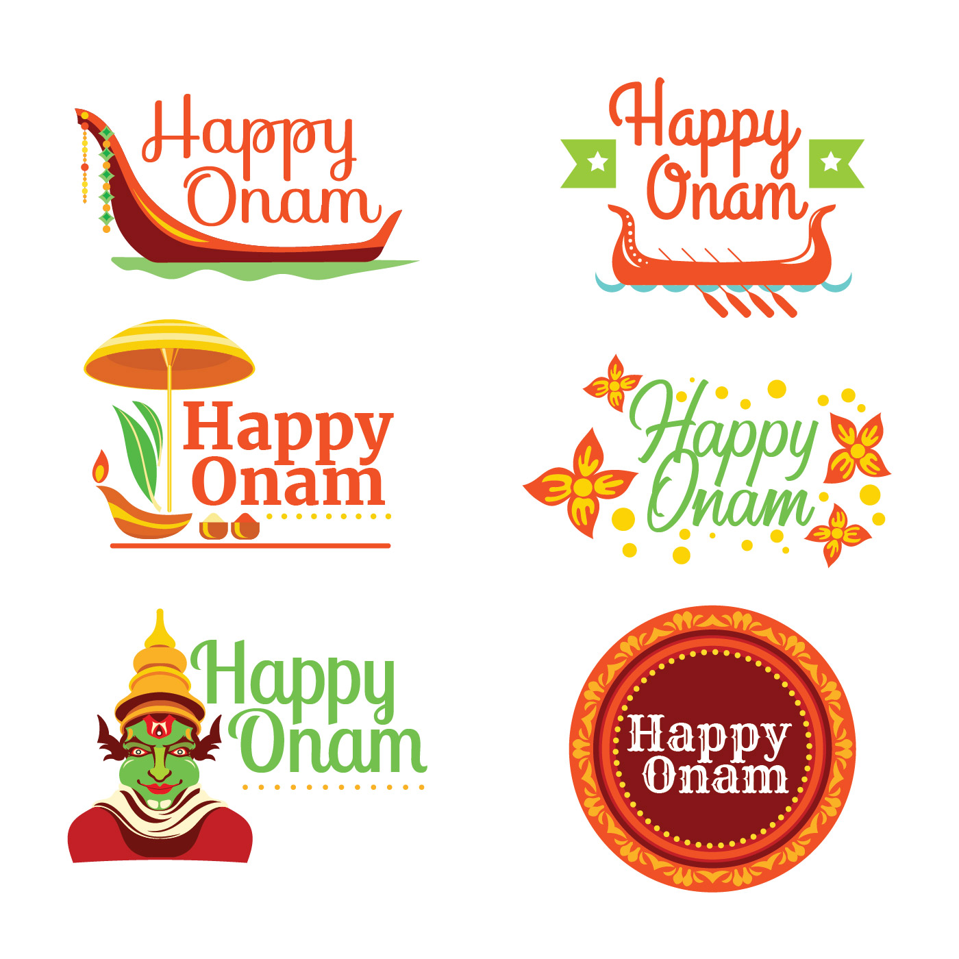Set Of Happy Onam Card Download Free Vector Art Stock Graphics