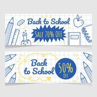 Mão, desenhado, costas, para, escola, venda, bandeira, vetorial