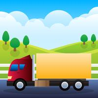Transportation Truck For Cargo Isolated On Background Illustration